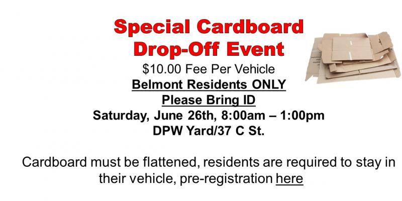 Cardboard Drop-off Event - June 26, 2021 from 8AM to 1PM - DPW Yard, C-Street